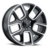 "22"" Fit's 2019 Dodge Ram 1500 Laramie Hemi Wheels Satin Black Machined Face 6x5.5 Set of 4 22x9"" Rims"