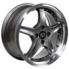 "17"" Fits Mustang® Cobra R 4 Lug Deep Dish Wheel Anthracite / Rivets 17x8"