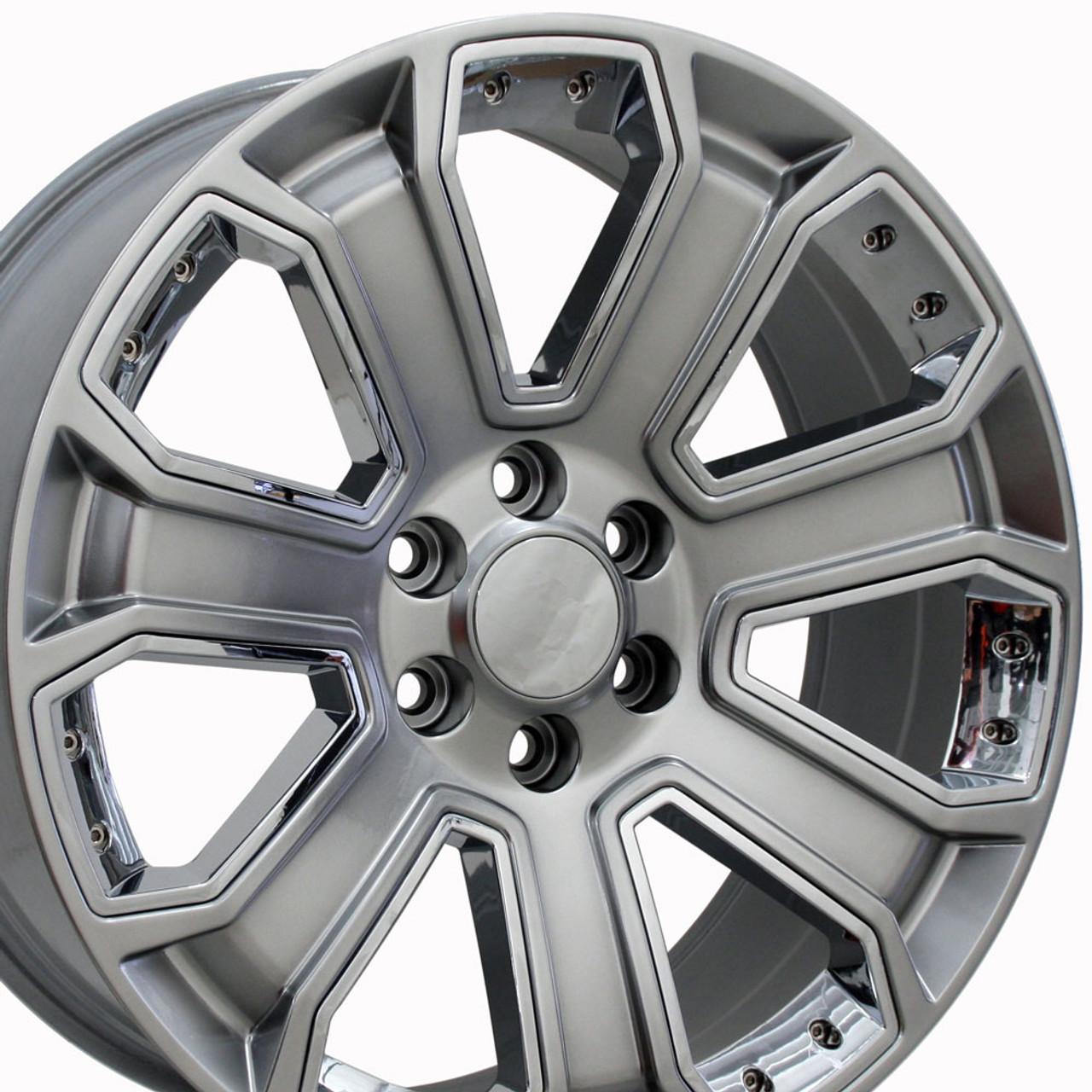 20 Gmc Denali Style Wheels Yukon Sierra Cadillac Fits Chevrolet Escalade Chevy Tahoe Silverado Hyper Black With Chrome Inserts Set Of 4 20x8 5 Rims Stock Wheel Solutions