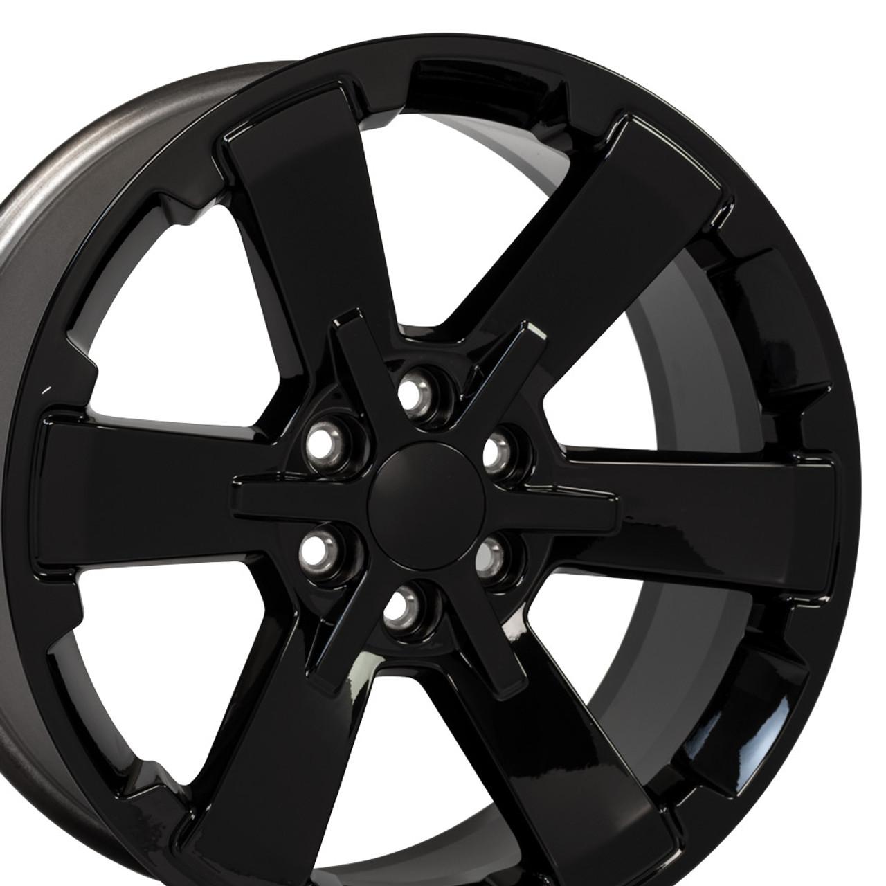 "22"" Fits Chevy 1500 Midnight Wheels Gloss Black Rally GMC"