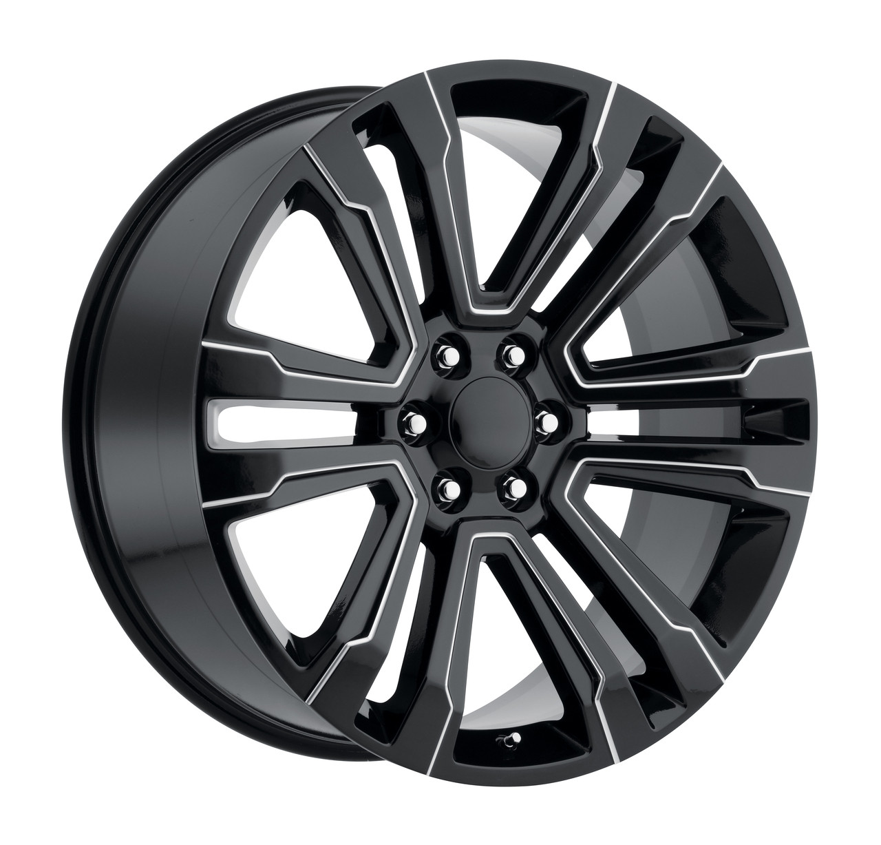 "22"" New 2018 Fits GMC Denali Wheels Chevy 1500 Gloss Black with Milled  Spokes Set"