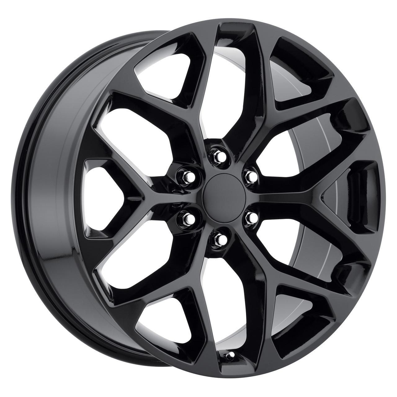 "24"" 2015 CK156 CK 156 Chevy Silverado GMC Sierra 1500 Cadillac Gloss Black  Wheels Set"