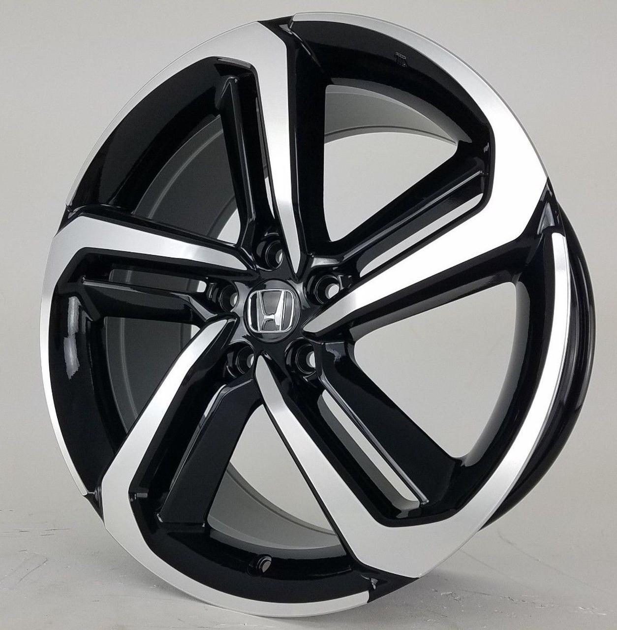 19 2018 19 Fits Honda Accord Sport Civic Si Exl Acura Black Machined Wheels Set Of 4 19x8 5 Rims Stock Wheel Solutions