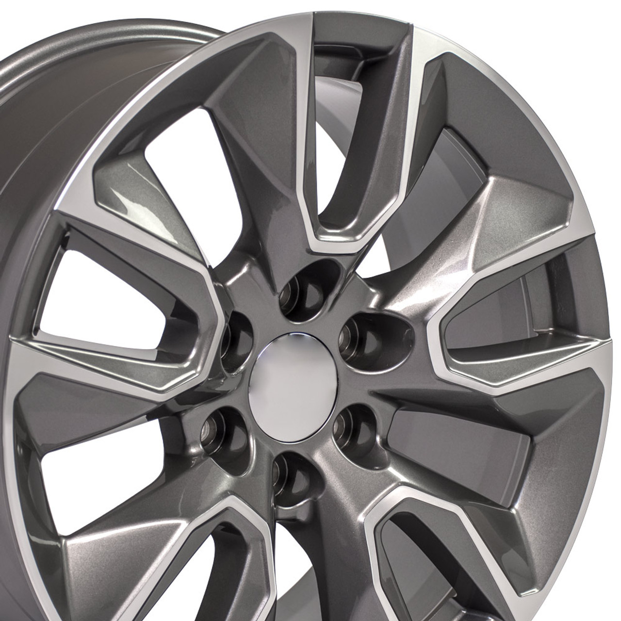 20 Fits Chevy Silverado Gunmetal Machined Face Rst Rally Tahoe Wheels 20x9 Rims Stock Wheel Solutions