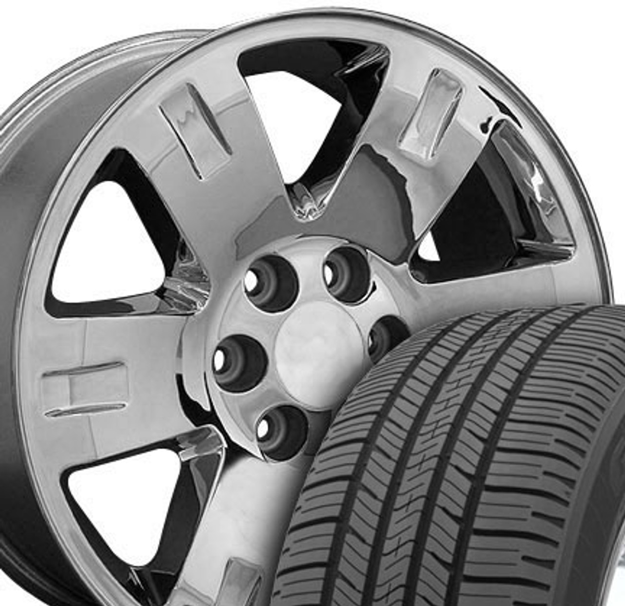 20 Fits Gmc Yukon Chevrolet Wheels And Tires Chrome Set Of 4 20x8 5 Rims And Tires Stock Wheel Solutions