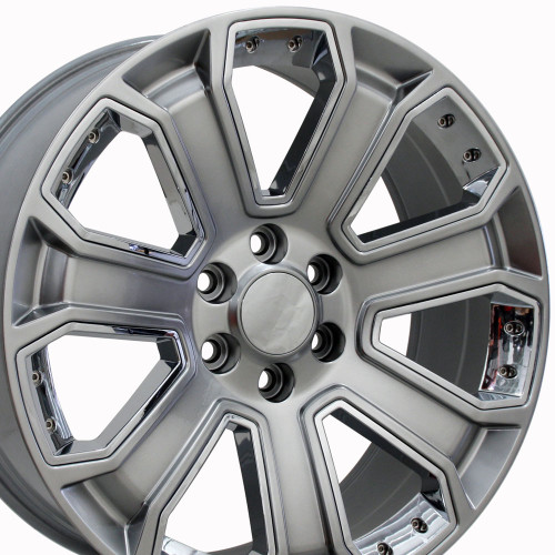 "20"" GMC Denali Style Wheels Yukon Sierra Cadillac Fits Chevrolet Escalade Chevy Tahoe Silverado - Hyper Black with Chrome Inserts Set of 4 20x8.5"" Rims Hollander# 5665"