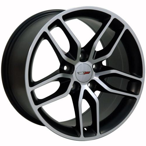 "17"" Fits Chevrolet Corvette Stingray Matte Black with Machined Face Wheels Set of 4 17x9.5"" Rims"