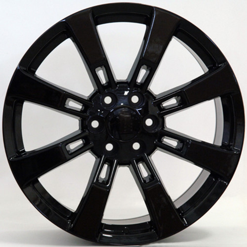 """22"""" Fits Cadillac Escalade Chevy GMC Tahoe Silverado Sierra Yukon Wheel Gloss Black Set of 4 22x9"""" Rims"""