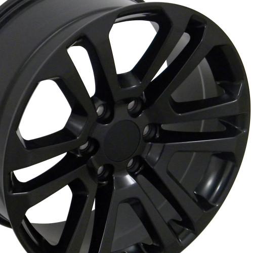 "22"" 2015 CK158 Chevy 1500 GMC Yukon Sierra Satin Black Wheels Set of 4 22x9"" Rims"
