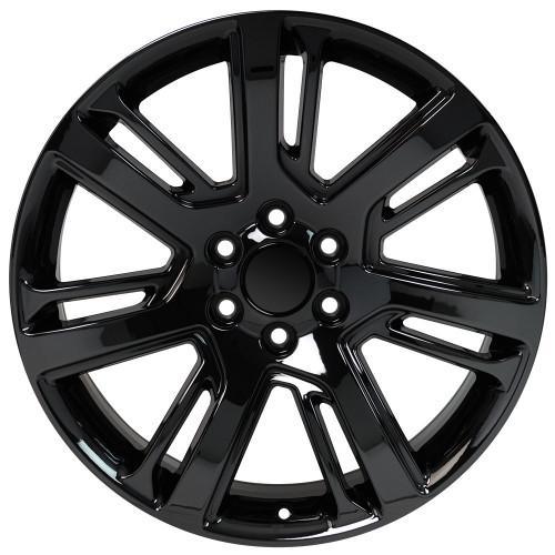 "24"" Cadillac Escalade Premium GMC 2015 Style Gloss Black Wheels Set of 4 24x10"" Hollander 4738 Rims"