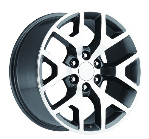 "22"" Chevy 1500 Silverado GMC Sierra Wheels Gray Machine Face Set of 4 22x9"" Rims"