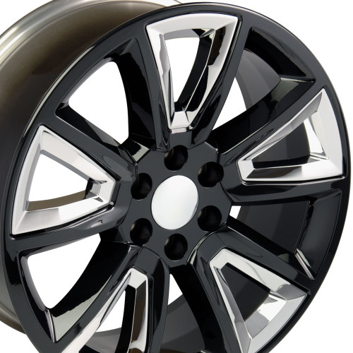 "20"" Fits GMC Denali Style Wheels Chevy Tahoe Cadillac Silverado Sierra Yukon Black w/Chrome Inserts Set of 4 20x8.5"""