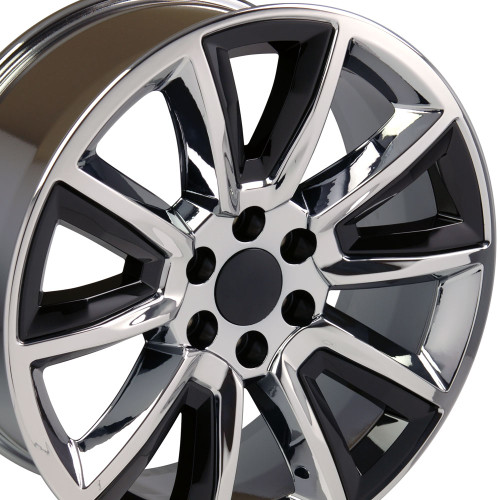 "20"" Fits GMC Denali Style Wheels Chevy Tahoe Cadillac Silverado Sierra Yukon Chrome w/Black Inserts Set of 4 20x8.5"" Hollander # 5696"