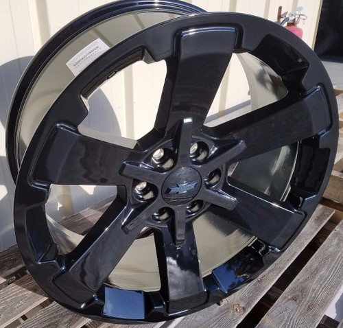 "22"" Fits Chevy 1500 Midnight Wheels Gloss Black Rally GMC Yukon 5662 Denali CK162 Set of 4 22x9"" Rims"