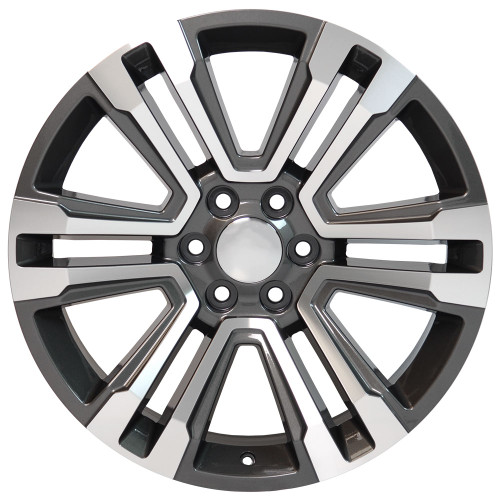 """24"""" New 2018 Fits GMC Denali Wheels Chevy 1500 Machined Silver Face with Dark Gray Pockets Set of 4 24x10"""" Rims"""