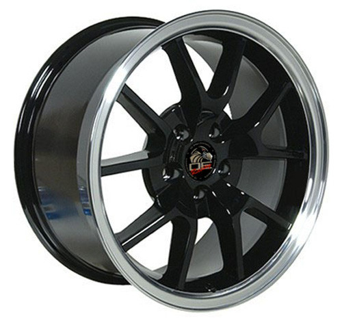 """18"""" Fits Ford® Mustang® GT4 FR500 Staggered Wheels Machined Black Set of 4 18x9/10"""" Rims"""