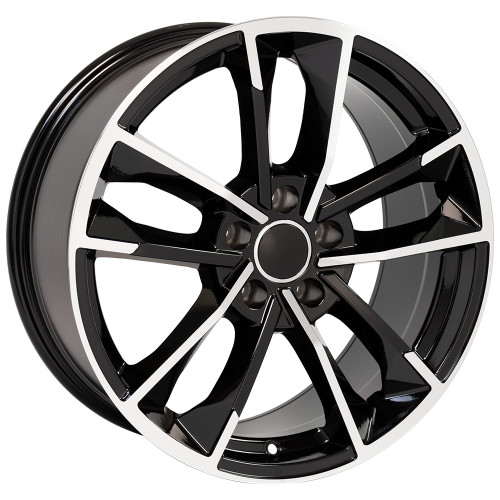 """18"""" Fits Audi A Series (RS7 Style) Volkswagon Wheels Black Machined Face Set of 4 18x8"""" Rims"""