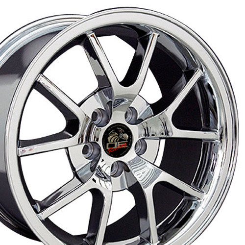 """18"""" Fits Ford® Mustang® GT4 FR500 Staggered Wheels Chrome Set of 4 18x9/10"""" Rims"""