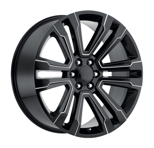 "26"" New 2018 Fits GMC Denali Wheels Chevy 1500 Gloss Black with Milled Spokes Set of 4 26x10"" Rims"