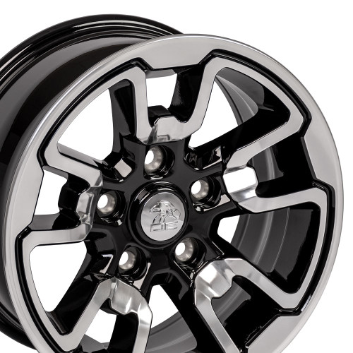 "17'' Fit's Dodge Ram 1500 Rebel Style Durango Dakota Chrysler Aspen Wheels Polished with Black Set of 4 17x8"" Rims"