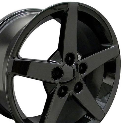 "17"" Fits Corvette C6 Style Gloss Black Z06 Wheels Set of 4 17x9.5"" Rims"