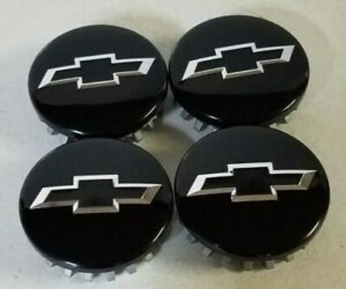 2014-20 fits Chevy Bowtie Center Caps Silverado Suburban Tahoe Gloss Black Chrome Bowtie 3.25 Set of 4 Brand new Factory OEM Style