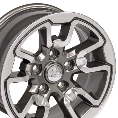 "17'' Fit's Dodge Ram 1500 Rebel Style Durango Dakota Chrysler Aspen Wheels Polished with Anthracite Inlay Set of 4 17x8"" Rims"