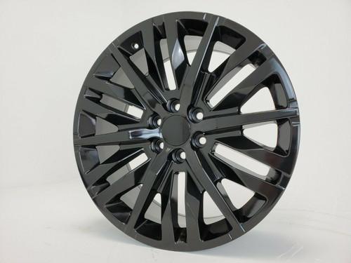 """24"""" 2019 Chevy Silverado 1500 Elevation Gloss Black Wheels Tahoe GMC Sierra Set of 4 24x10"""" Rims"""