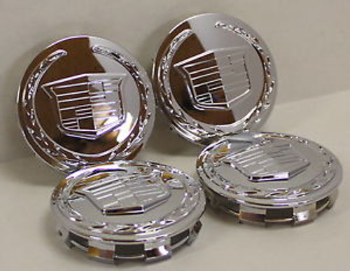 "Cadillac Escalade OEM Older fitting Center Caps Chrome Set of 4 Brand new Factory OEM - 3 1/4"" - Fit GM 20 and 22"" wheels"