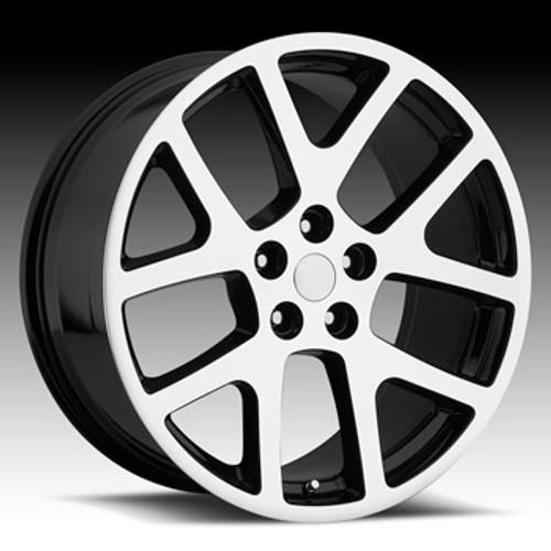 "22"" Fits Dodge Challenger Charger 300 SRT Viper Wheels Gloss Black Machine Face & Lip Set of 4 22x9"" Rims"
