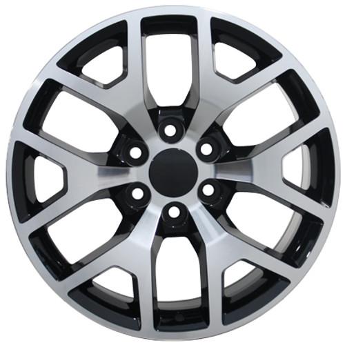 "20"" Chevy 1500 Silverado Wheels GMC Sierra Black Machine Face Set of 4 20x9"" Rims"