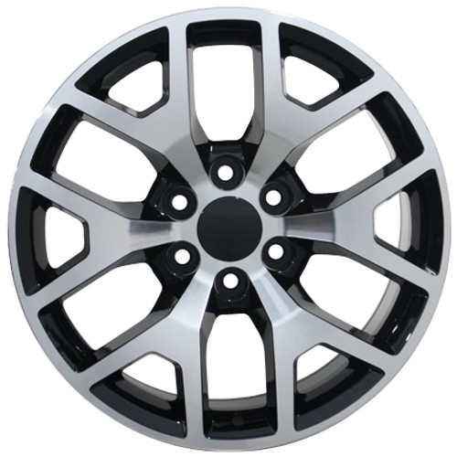 "20"" Chevy 1500 Silverado Wheels GMC Sierra Black Machine Face Set of 4 20x9"" Rims"