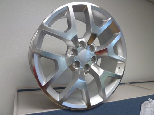 "22"" 2014-15 Style GMC Sierra Chevy 1500 Wheels Silver Machine Face Set of 4 22x9"" Rims"