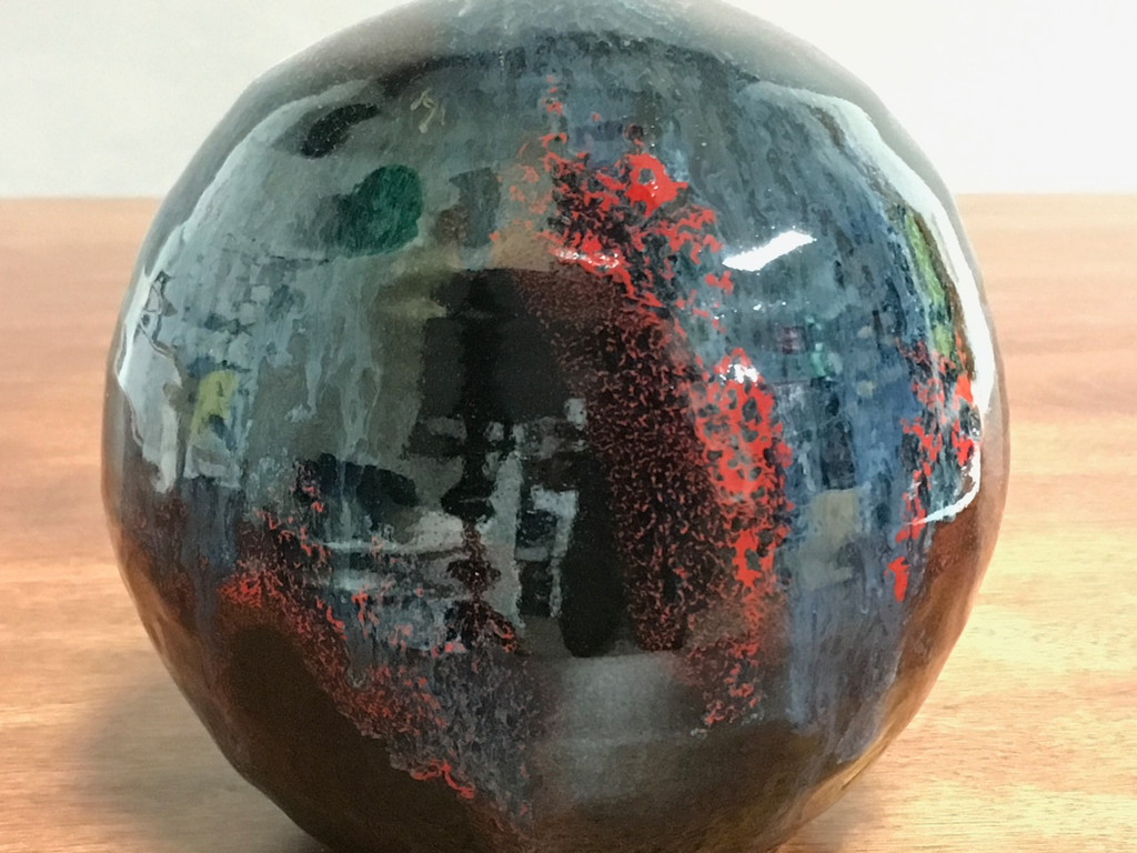 Cosmic Orb Vase, roughly 6 inches tall by 6 inches wide, Inspired by a Planetary Nebula (SP341)
