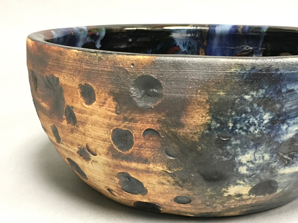 Lunar/Cosmic Serving Bowl with a slight Oval, roughly 4 inches tall by 9 inches wide, Inspired by a Lunar Surface with a planetary nebula (SK322)
