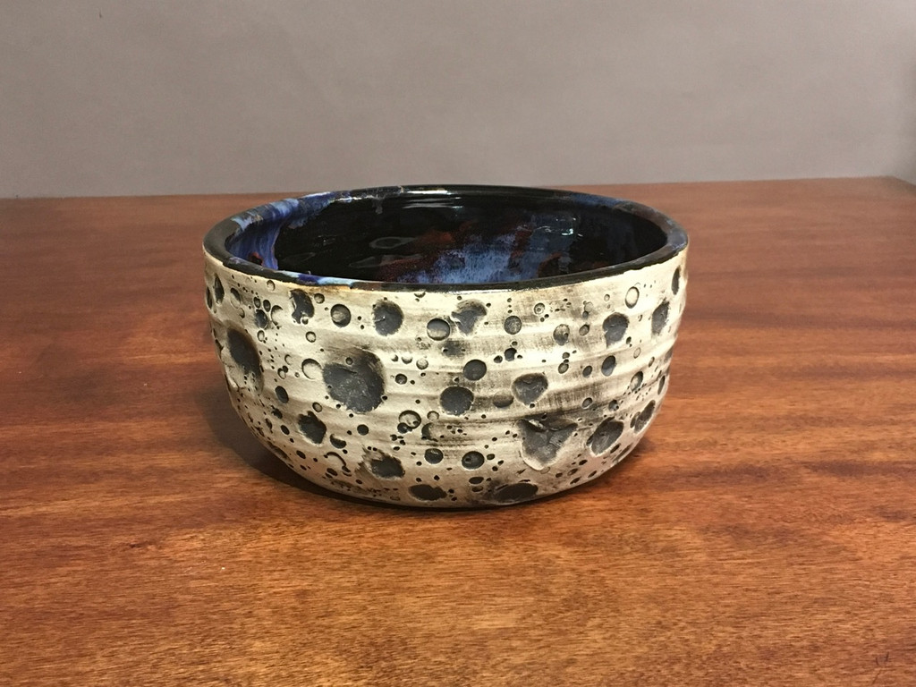 Lunar/Cosmic Serving Bowl with a slight Oval, roughly 4 inches tall by 8.5 inches wide, Inspired by a Lunar Surface with a planetary nebula (SK424)
