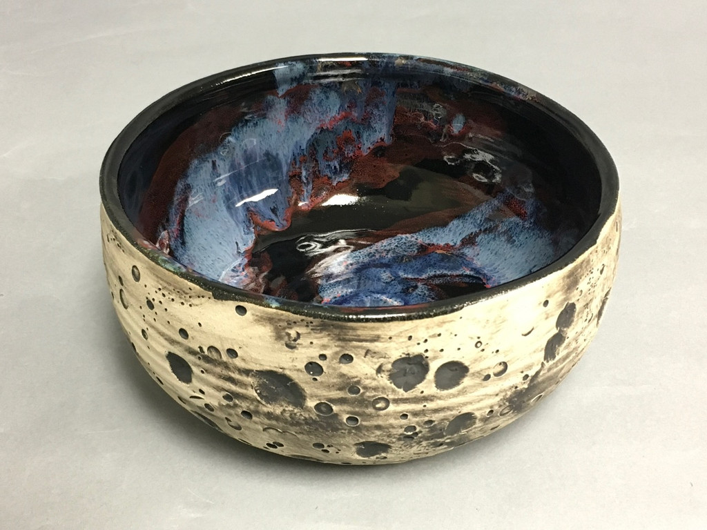 Lunar/Cosmic Wide Serving Bowl, roughly 5 inches tall by 9.5 inches wide, Inspired by a Lunar Surface with a planetary nebula  (SK740)