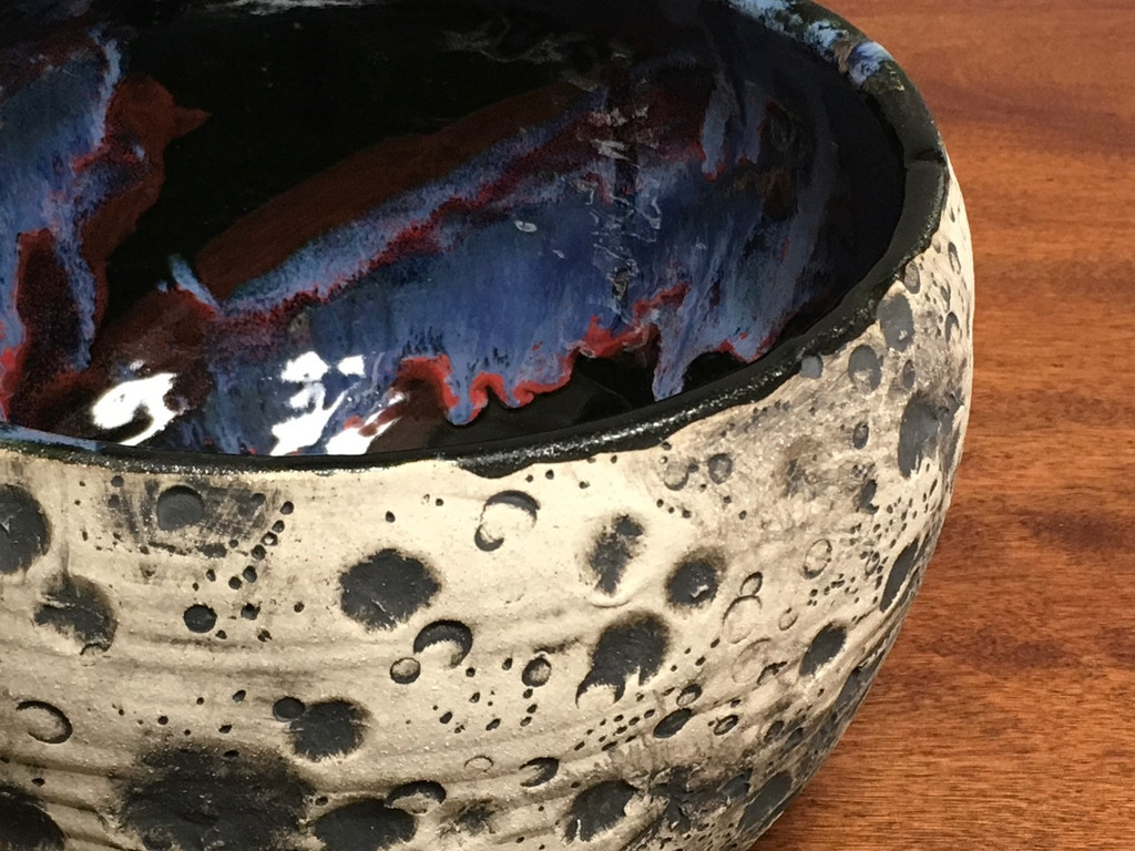Lunar/Cosmic Small Serving Bowl, roughly 6.5 inches tall by 9 inches wide, Inspired by a Lunar Surface with a planetary nebula  (SK916)