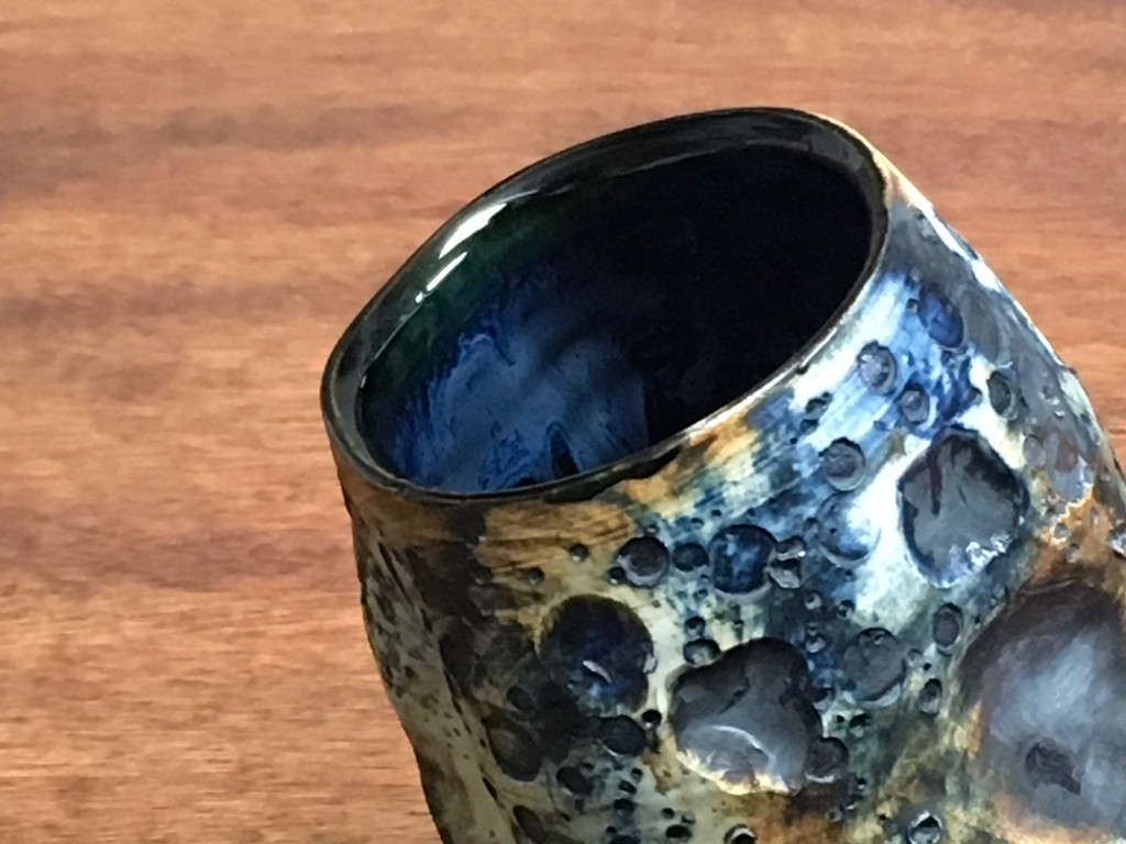 "Flawed Lunar/Moon Cup, roughly 10-12oz size, Inspired by a ""Planetary Nebula"" (SK1366)"
