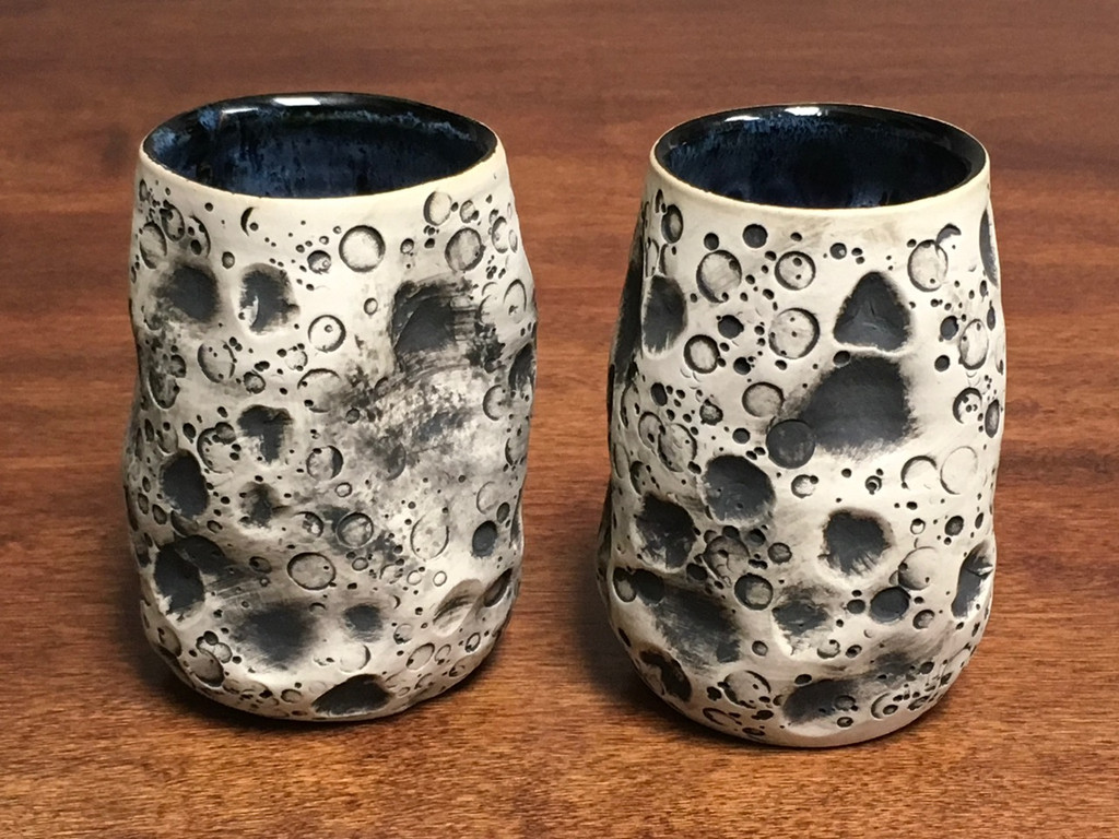 """Pair of Lunar/Moon Cups, roughly 10-12oz size, Inspired by a """"Planetary Nebula"""" (SK1372)"""
