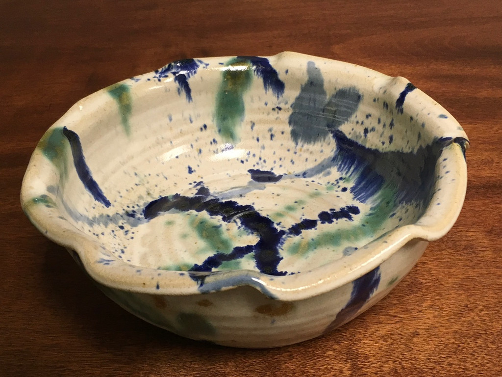 Beautiful Experimental Bowl, roughly 3.75 inches tall by 9.5 inches wide (SK 2069)
