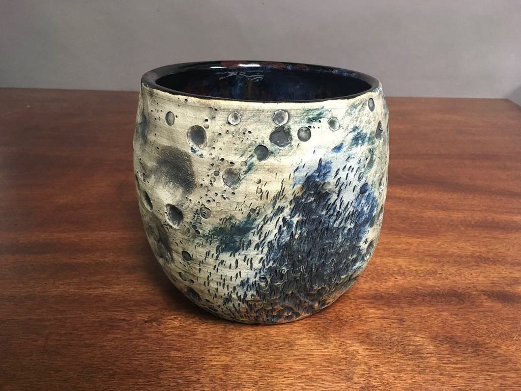 Large Lunar/Cosmic Serving Bowl, roughly 7.25 inches tall by 7.0 inches wide, Inspired by a Lunar Surface with a Planetary Nebula (SK2114)