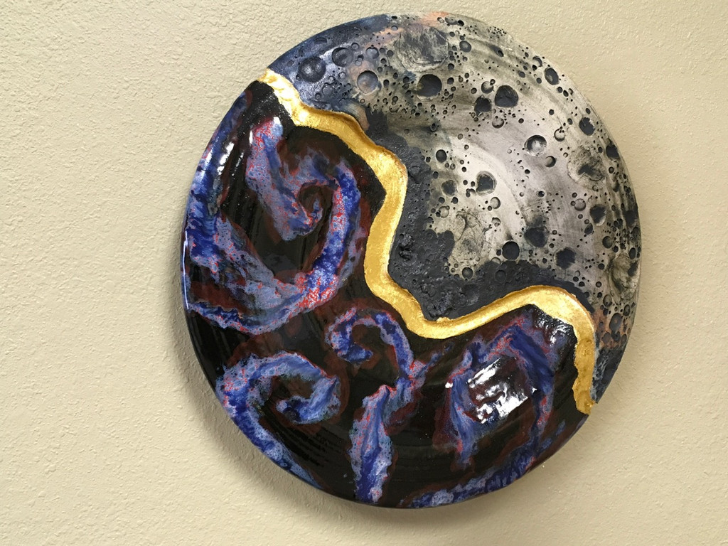 "Cosmic Wall Platter SK2285, Porcelain with Cobalt, Iron, 24 Karat gold and wood ashes, roughly 14.5"" diameter by 2.5"" thick, approx 9 pounds."
