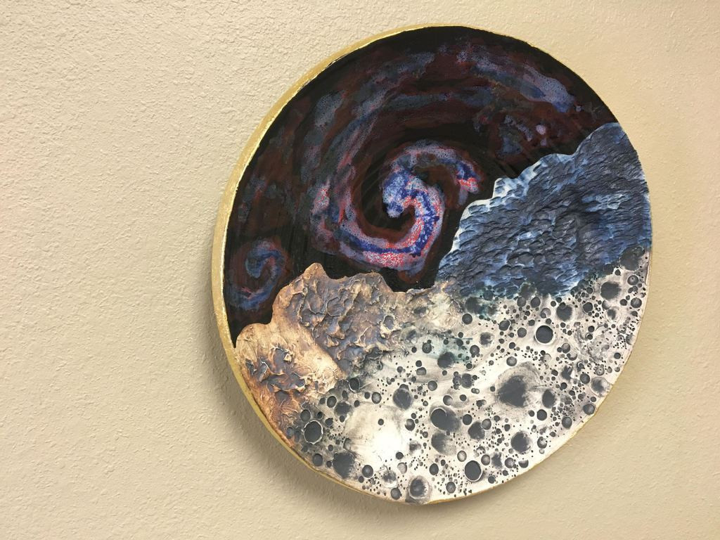 "Cosmic Wall Platter SK2260, Porcelain with Cobalt, Iron, 24 Karat gold and wood ashes, roughly 14.5"" diameter by 2.5"" thick, approx 9 pounds."