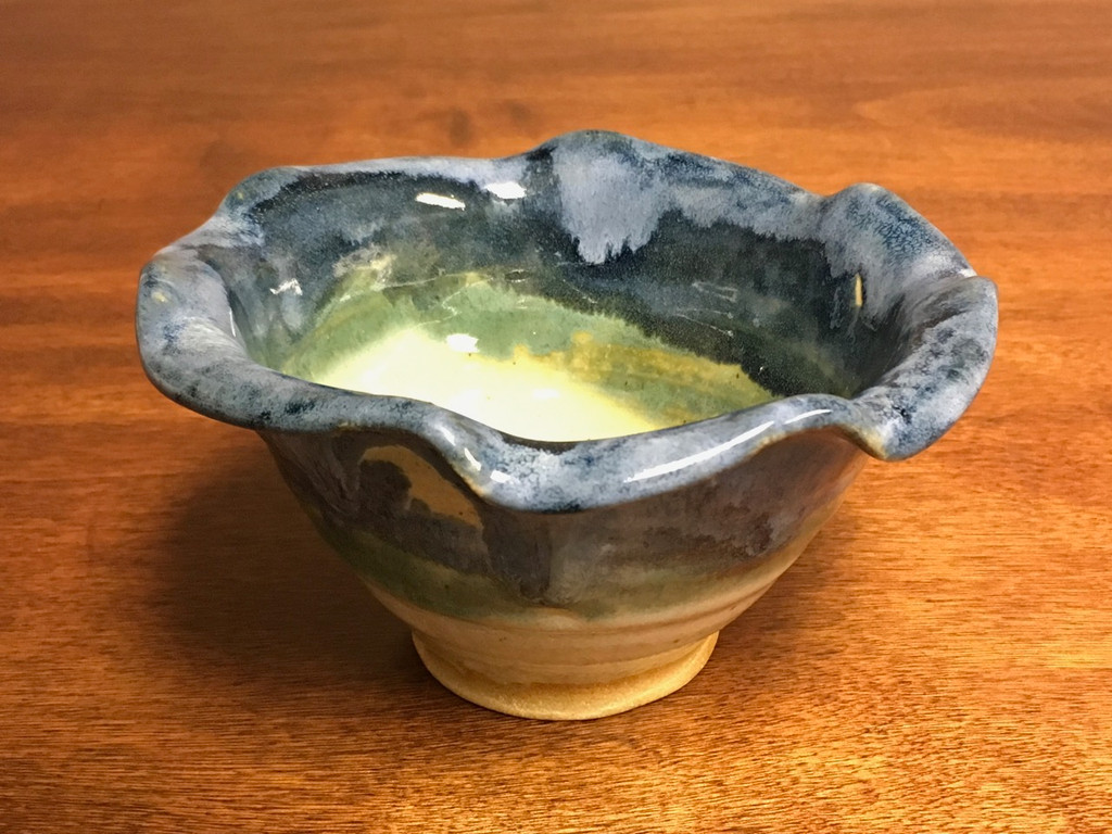 Nuka Cobalt Bowl, Textured glaze, roughly 3.5 inches tall by 6 inches wide,  (SK2696)