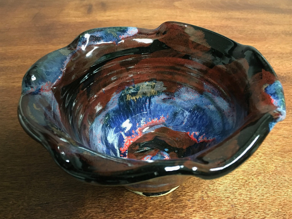 """Cosmic Bowl , roughly 3.5 inches tall by 6.25 inches wide, Inspired by a """"Planetary Nebula"""" (SK2778)"""