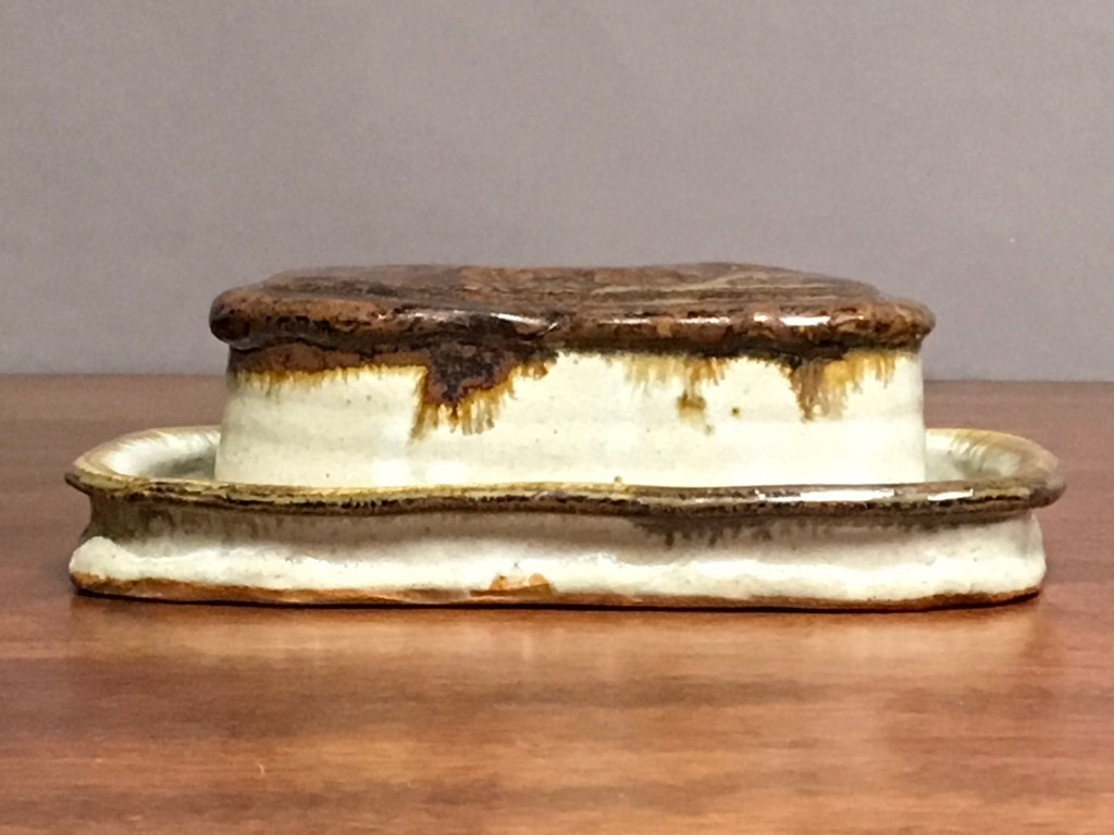 """Nuka Iron Butter Dish, roughly 8"""" long by 4.5"""" wide by 2.5""""tall, including the tray (SK2946)"""