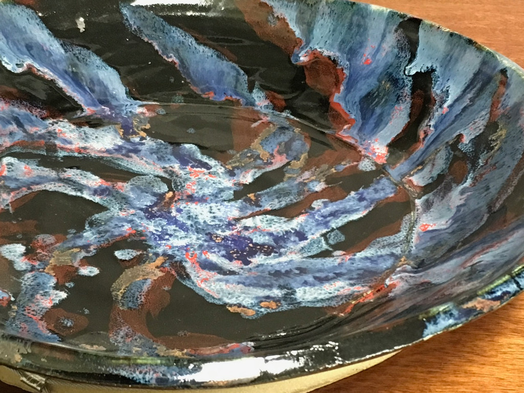 """Combo Set: Galaxy Concave Platter First Draft, roughly 13.5"""" diameter by 2.5"""" deep, approx 5.5 pounds, SK3094, Included: 4 Cosmic Tea Cups w/Trays"""
