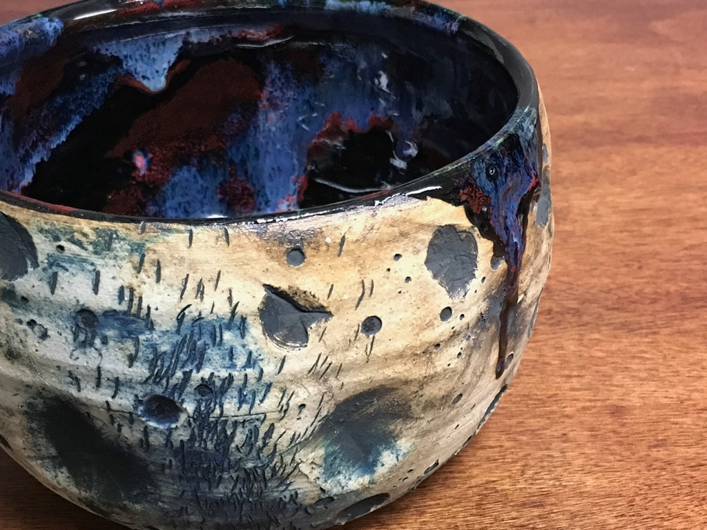 Deep Lunar/Cosmic Serving Bowl, roughly 4.5 inches tall by 7 inches wide, Inspired by a Lunar Surface with a planetary nebula  (SK3295)