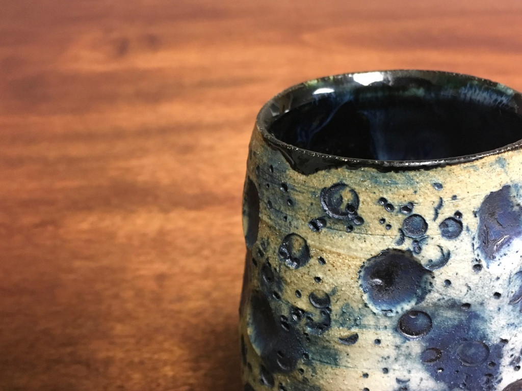 """Blue Lunar/Moon Cup, roughly 12oz size, Inspired by a """"Planetary Nebula"""" (SK3380)"""